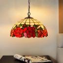Red Cut Glass Blossom Chandelier Lighting Victorian 2 Lights Black Hanging Pendant Light