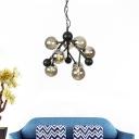 Round Ceiling Chandelier Modernism Smoked Glass 9 Bulbs Living Room Pendant Light Fixture