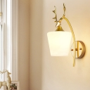Gold Conical Wall Lighting Modern 1 Bulb Frosted White Glass Sconce Light Fixture with Metal Elk
