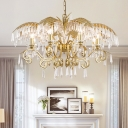 Clear Crystal Candlestick Chandelier Lighting Countryside 3/6/8 Lights Living Room Hanging Light Fixture in Brass