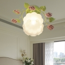 Flower Bedroom Semi-Flush Mount Traditional Frosted Glass 1 Bulb Green Close to Ceiling Lighting Fixture
