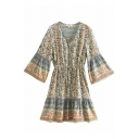 Ethnic Retro Women's Bell Sleeve V-Neck Button Front All Over Floral Print Drawstring Waist Pleated Midi A-Line Dress