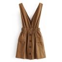 Trendy Ladies' Brown Sleeveless Button Down Flap Pocket Elastic Waist Mini A-Line Tank Dress