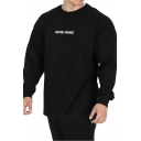 Simple Letter GYM KING Printed Long Sleeves Crewneck Loose Fit Pullover Sweatshirt