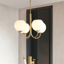 Modern 4 Bulbs Chandelier Light Gold Sphere Pendant Lighting Fixture with Opal Glass Shade