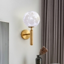 Metal Pencil Arm Sconce Light Contemporary 1 Head Wall Lighting Fixture in Gold for Beside