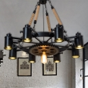 Wagon Wheel Metal Chandelier Pendant Light Retro 7/9/11 Lights Living Room Hanging Lamp Kit in Black