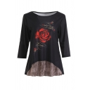 Popular Three-Quarter Sleeve Round Neck Rose Patterned Patched Loose Tee for Girls
