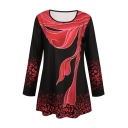 Retro Long Sleeve Round Neck Floral Printed Loose Fit Long T-Shirt for Women