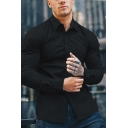 Formal Men's Simple Plain Long Sleeves Button Down Stretch Fit Non-iron Shirt