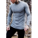 Men's Simple Plain Ribbed Knit Long Sleeves Round Neck Slim Fit Leisure T-Shirt