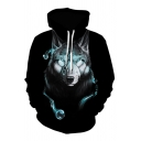 Men's Unique Wolf 3D Printed Long Sleeve Relaxed Loose Pullover Hoodie