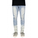 Men's Creative Spray Paint Printed Zipper Decoration Skinny Fit Casual Jeans