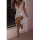 Ladies Stylish Plain Sleeveless Deep V-Neck Side Split White Shiny Sequined Party Dress