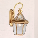 Traditional Birdcage Sconce Light Fixture 1-Bulb Metal Wall Lamp in Gold for Porch