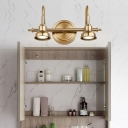 Metal Brass Vanity Lamp Bar 2/3/4-Light Traditional LED Wall Mounted Light for Bathroom