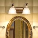 Metal Brass Vanity Light Fixture Dome 2/3/4 Bulbs Traditional Wall Sconce Lighting for Bathroom