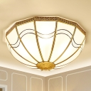 Brass Bowl Flush Mount Lighting Traditional Opal Glass 4-Light Living Room Ceiling Fixture with Wave Pattern
