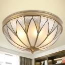 Inverted Living Room Flush Mount Lamp Classic Milky Glass 5 Lights Brass Flush Light Fixture