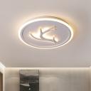 White Antler Ceiling Lamp Minimalist Acrylic 16.5