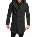 Mens Simple Plain Long Sleeve Double Breasted Woolen Coat Longline Hooded Peacoat