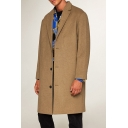 Mens Simple Plain Long Sleeves Notched Lapel Button Down Longline Loose Woolen Coat