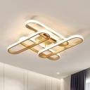 Traverse Ceiling Light Postmodern Acrylic Gold LED Semi Flush Mount Lighting in Warm/White Light