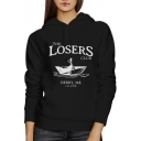 Personality Letter THE LOSERS CLUB Print Long Sleeve Graphic Drawstring Hoodie