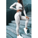 Casual Solid Color Long Sleeve Cropped Top Skinny Pants Yoga Fitness Two Piece Co-ords