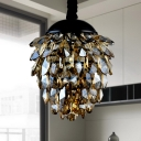Crystal Pinecone Chandelier Pendant Light Contemporary 2 Lights Ceiling Lamp in Gold/Black