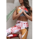 Colorful Cartoon Floral Print Strappy Cross Back Cropped Top with Sweatpants Fitness Co-ords