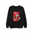 Fashion Long Sleeve Crew Neck MERRY CHRISTMAS Letter Santa Claus Print Baggy Sweatshirt for Women