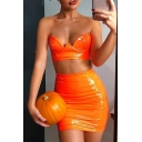 Womens Sexy Plain Zip Back Bustier Tube Top with Mini Bodycon Skirt PU Leather Co-ords