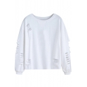 White Street Long Sleeve Round Neck Ripped Baggy Pullover Sweatshirt for Women