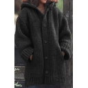 Warm Cozy Female's Long Sleeve Hooded Button Down Chunky Knit Plain Oversize Midi Cardigan Sweater