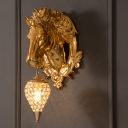 Golden Horse Sconce Light Fixture Country Style 9.5
