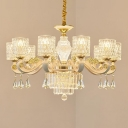 Cylinder Crystal Hanging Chandelier Modern 10 Lights Brushed Brass Pendant Lighting Fixture