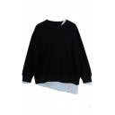 Plain Cozy Long Sleeve Crew Neck False Two-Piece Asymmetric Baggy Pullover Sweatshirt for Female