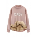 Girls' Cute Long Sleeve Mock Neck Letter BABY Style Fluff Liner Baggy Pullover Sweatshirt in Pink