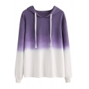 Female Plain Casual Long Sleeve Drawstring Ombre Relaxed Fit Pullover Hoodie