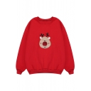 Cute Christmas Cartoon Embroidery Long Sleeve Round Neck Baggy Sweatshirt