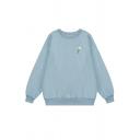 Lovely Daisy Embroidery Print Long Sleeve Round Neck Oversized Sweatshirt