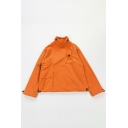 Plain Orange High Collar Long Sleeve Drawstring Pocket Loose Fleece Sweatshirt