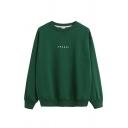 Basic Street Long Sleeve Crew Neck Letter ORANGE Loose Fit Cool Pullover Sweatshirt for Female