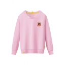 Basic Cozy Long Sleeve Round Neck Letter BROWN Bear Print Loose Fit Pullover Sweatshirt for Girls