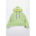 Green Funny Embroidered Letter Print Long Sleeve Casual Oversized Pullover Hoodie