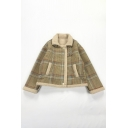 Khaki Stylish Long Sleeve Lapel Collar Button Down Plaid Print Buckle Detail Sherpa Liner Relaxed Jacket for Girls