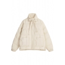 Cute Beige Long Sleeve Stand Collar Bow Tie Patched Pockets Thick Oversize Puffer Jacket for Girls