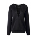 Plain Cozy Long Sleeve Round Neck Lace Up Relaxed Fit Pullover Sweatshirt for Women