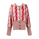 Elegant Ladies' Long Sleeve Crew Neck Button Down Abstract Pattern Stripe Patched Purl Knit Cardigan in Red